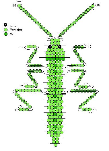 метод параллельного плетения.  Схема плетения кузнечика из бисера.